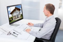 Architect working on computer Royalty Free Stock Photography