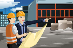 Architect working at the construction site. A vector illustration of architect working at the construction site Royalty Free Stock Images