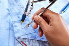 Architect working on house deisgn Stock Photography