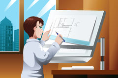 Architect working in the office. A vector illustration of architect working on blueprint in the office Stock Image