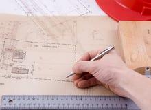 Architect working on plan Stock Image