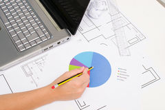 Architect working with plans Stock Photos