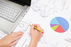 Architect working with plans Royalty Free Stock Image