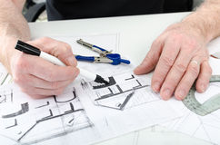 Architect working on plans Stock Images
