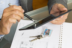 Architect working with stylus and digital tablet pc Stock Photography