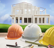 Architect working table and home construction background Royalty Free Stock Image