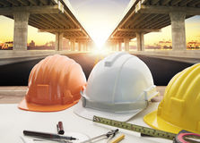 Architect working table and home construction background Stock Photography