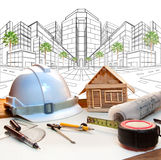 Architect working table and two point perspective modern buildin. G plan use for construction engineering and real estate ,land development industry Royalty Free Stock Image