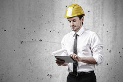 Architect working with a touch pad Stock Photos