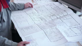 Architect works  with blueprint. stock video footage