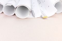 Architect workspace with blueprints, pencil folding rule Stock Photography