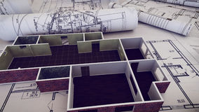 Architect worplace. 3d rendering of Architect workplace. Architectural project, blueprints, blueprint rolls on plans Royalty Free Stock Image
