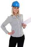 Architect young female with plan woman occupation job isolated Stock Images