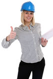 Architect young woman with plan woman occupation job thumbs up i. Solated on a white background Royalty Free Stock Photos