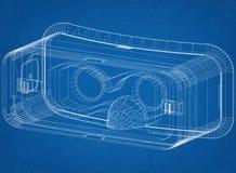 Architecte Blueprint de casque de réalité virtuelle illustration stock
