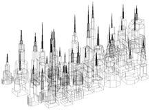 Architecte Blueprint de concept de bâtiments - d'isolement illustration stock