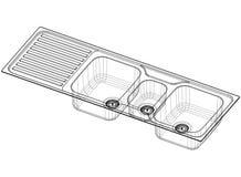 Architecte Blueprint de concept d'évier - d'isolement illustration de vecteur