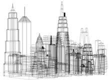 Architecte Blueprint de concept de gratte-ciel - d'isolement illustration libre de droits