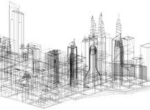 Architecte Blueprint de concept de ville - d'isolement illustration libre de droits