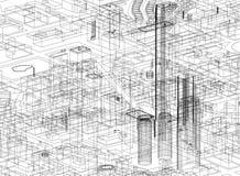 Architecte Blueprint de concept de ville - d'isolement illustration de vecteur
