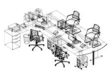 Architecte Blueprint de conception de bureau - d'isolement illustration stock