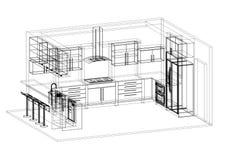 Architecte Blueprint de conception de cuisine - d'isolement illustration de vecteur