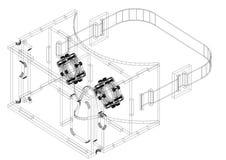 Architecte Blueprint de conception en verre de réalité virtuelle - d'isolement illustration de vecteur