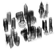 Architecte Blueprint de conception de l'avant-projet de ville - d'isolement illustration stock