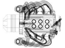 Architecte Blueprint de conception de moteur - d'isolement illustration libre de droits
