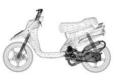 Architecte Blueprint de conception de scooter - d'isolement illustration stock