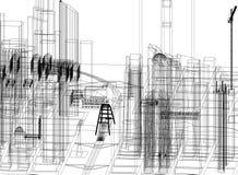 Architecte Blueprint de conception de ville - d'isolement illustration libre de droits