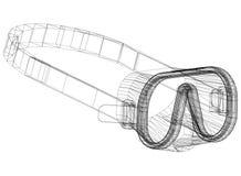 Architecte Blueprint de masque de plongée - d'isolement illustration libre de droits