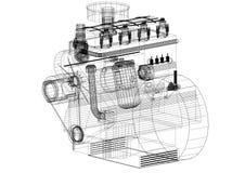 Architecte Blueprint de moteur de voiture - d'isolement illustration stock