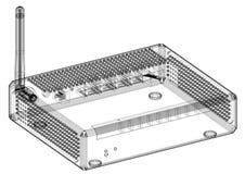 Architecte Blueprint de routeur - d'isolement illustration stock