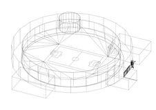 Architecte Blueprint de stade de football - d'isolement illustration de vecteur