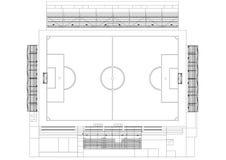 Architecte Blueprint de terrain de football - d'isolement illustration libre de droits