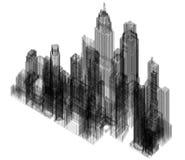 Architecte Blueprint de ville - d'isolement illustration stock