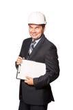 Architecte de sourire masculin dans le masque d'isolement dessus Images libres de droits
