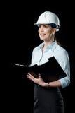 Architecte féminin dans le casque Photos stock