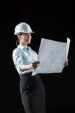 Architecte féminin dans le casque Images libres de droits