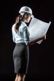 Architecte féminin dans le casque Photographie stock libre de droits