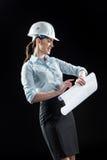 Architecte féminin dans le casque Images stock