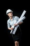 Architecte féminin dans le casque Photographie stock
