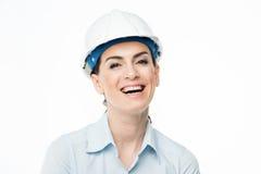 Architecte féminin dans le casque antichoc Photo stock