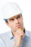 Architecte masculin dans le casque antichoc Image libre de droits