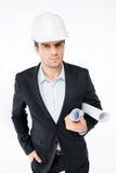 Architecte masculin dans le casque antichoc Images libres de droits