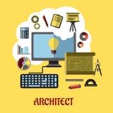 Architecte ou concept d'éducation illustration stock