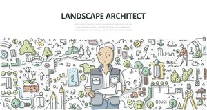 Architecte paysagiste Doodle Concept illustration stock