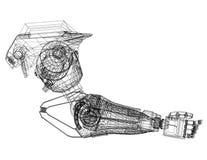 Architecte robotique Blueprint de concept de construction de bras - d'isolement illustration stock