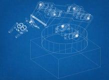 Architecte robotique industriel Blueprint de bras illustration de vecteur